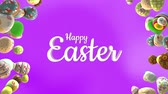 happy easter spinning eggs pink animated seamless loop background Stok Video