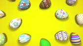 spinning easter eggs yellow animated seamless loop background
