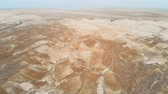 filistin : Aerial view of the Judean desert. Flying quadcopter over desert lands near the dead sea. Jordan Israel Palestine.
