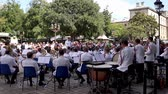 condutor : France, Paris - September 15, 2018: Paris Police officers orchestra (musique des gardiens de la paix) playing in front of Paris Prefecture de Police in the ile de la Cite