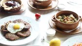 dining table : A portrait of various dishes Stock Footage