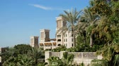 arabic design : DUBAI, UNITED ARAB EMIRATES, UAE - NOVEMBER 20, 2017: Hotel Jumeirah Al Qasr Madinat , day beautiful landscape of the hotel complex,