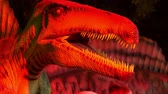 recyclable : DUBAI, UNITED ARAB EMIRATES, UAE - NOVEMBER 20, 2017: Dinosaur Park at Dubai Garden Glow park, illuminated at night. a lot of different dinosaurs, look alive