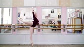 sukénka : in dancing hall, Young ballerina in purple leotard performs developpe attitude on pointe shoes, raises her leg up behind elegantly, standing near barre at mirror in ballet class.