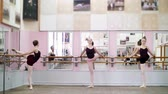 rajstopy : in dancing hall, Young ballerinas in black leotards stretching at barre, elegantly, standing near barre at mirror in ballet class.