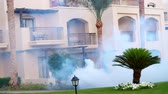 дразнить : SHARM EL SHEIKH, EGYPT - APRIL 5, 2018 : Hotel Jaz Belvedere. on territory of hotel, staff poison mosquitoes with a special smoke machine. From bushes clouds of smoke rise