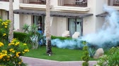 дразнить : SHARM EL SHEIKH, EGYPT - APRIL 5, 2018 : Hotel Jaz Belvedere. Man work fogging to eliminate mosquitos with a special smoke machine. clouds of white smoke rise Стоковые видеозаписи