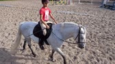 pony : summer, outdoors, boy rider, jockey riding on thoroughbred beautiful white stallion, horse, on the training sand field, ground. boy learns to ride a horse in horse riding school.