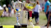 ciclismo : close-up, beautiful gold and silver cups, awards for outdoor cycling competition