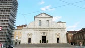 fresk : TORINO, ITALY - JULY 7, 2018: View of the Torino Cathedral. Inside is the Chapel of the Holy Shroud the current resting place of the Shroud of Turin