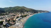 liguria : Aerial panoramic of Spotorno village, Seaside Spotorno, Mediterranean sea, Liguria, Italy. summer hot day Stock Footage