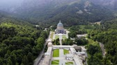 cloitre : OROPA, BIELLA, ITALY - JULY 7, 2018: aero View of beautiful Shrine of Oropa, Facade with dome of the Oropa sanctuary located in mountains near the city of Biella, Piedmont, Italy.