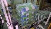 boxy : UKRAINE, CHERKASSY, MARCH 25, 2019: agricultural company MAIS. automated packaging process, wrapping corn grain bags on pallets with film , for further loading and transportation Dostupné videozáznamy