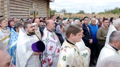 espiritual : CHERKASY REGION, UKRAINE, OCTOBER 10, 2019: church ceremony. the consecration rite of newly built Church by Metropolitan Epiphany, head of united local Ukrainian Orthodox Church