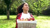 Biracial African American mixed race teenage girl young woman carrying basket of apples through a sunny apple orchard putting them on a gray tractor and eating an apple