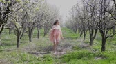 cherrytree : blonde girl walking on a blooming garden and resting