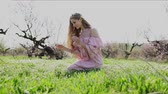 lupine : beautiful girl gathers wildflowers in the garden Stock Footage