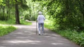 おばあちゃん : old granny goes with sticks for walking on the road