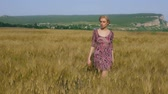 grain growing : Woman walks through wheat field, harvest time coming