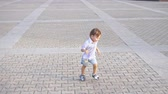 nourish : Little boy with nipple running Stock Footage