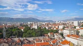 hırvat : Panoramic view on the old town of Split, Croatia. Stok Video