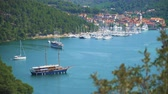 hırvat : Skradin city and bay with ships and yachts in Croatia.