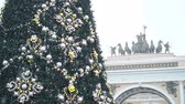 triumphal arch : Christmas tree on the Palace Square in St. Petersburg. Petersburg.