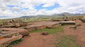 columbian : Panoramic view of megalithic stones with intricate carving in the complex Puma Punku near Tiwanaku, Bolivia