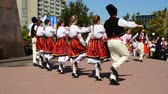 esplêndido : BERDYANSK, UKRAINE - SEPTEMBER 17, 2017: Bulgarian dance. Public city holiday, 190 years to the city of Berdyansk.