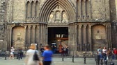 ildefonso : BARCELONA - OCTOBER 20: Temple of Santa Maria del Pi of gothic style, is in the historical center of Barcelona on October 20, 2013 Stock Footage