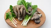 soupon : Spinach, onions and mushrooms of an oyster mushroom on a board. Stock Footage
