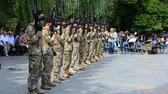 bullet proof : BERDYANSK, UKRAINE - SEPTEMBER 17, 2016: The public statements of marines to a City Day. Berdyansk on September 17, 2016 in Berdyansk.