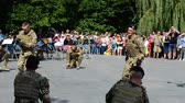 combatant : BERDYANSK, UKRAINE - SEPTEMBER 17, 2016: The public statements of marines to a City Day. Berdyansk on September 17, 2016 in Berdyansk.