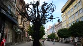 frankivsk : JULY 9: The forged happiness tree on July 9, 2016 in Ivano-Frankivsk. Stock Footage