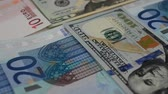 devaluation : Notes of euro and dollars. Stock Footage