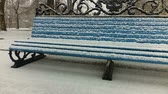 solitaire : Bench in the park, it is snowing.