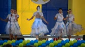 design : BERDYANSK, UKRAINE - SEPTEMBER 17: City Day of Berdyansk. A public holiday on a central square before a scene. Performance of childrens collectives on September 17, 2015 in Berdyansk, Ukraine.
