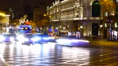 triumphal arch : Crossing of streets Alkala and Gran Via in Madrid at night. Timelapse.