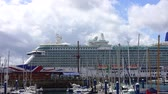 modernism : LA CORUNA, SPAIN - APRIL 1, 2018: Britannia cruise liner. The cruise liner and yachts in port. Timelapse.