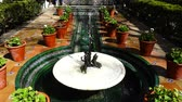 ornamentado : The fountain in the yard of the house-museum of Sorolla. Slow motion. Shooting in Madrid.