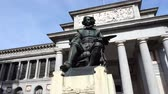 main street : The bronze statue of Diego Velazquez. Madrid, Spain. Stock Footage