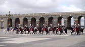wednesday : MADRID, SPAIN - APRIL 04, 2018: The ceremony of the Solemn Changing of the Guard at the Royal Palace of Madrid. That is famous event was performed on the first Wednesday of each month.