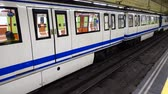 муниципальный : The train in the subway of Madrid. Spain.