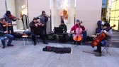 music concert : MADRID, SPAIN - MARCH 25, 2018: Unknown musicians play for public. Stock Footage