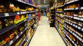 polc : MADRID, SPAIN -APRIL 4, 2018: Food in the supermarket of the shopping center El Corte Ingl?s.