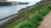 coastal road : The walking road on the mountain over the Atlantic Ocean. La Coruna. Spain. Stock Footage