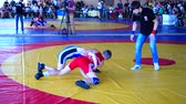 first class : BERDYANSK, UKRAINE - JUNE 12, 2018: First open all-Ukrainian freestyle wrestling tournament in honor of the master of sports of the international class Vladimir Fedorenko. Stock Footage