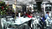 steadicam : MADRID, SPAIN - MARCH 26, 2018: Street cafe in Madrid. Shooting in the movement. Stock Footage