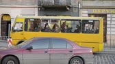 tram : LVIV, UKRAINE - JULY 10, 2014: Area and cars and people Stock Footage