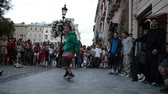 hip hop : LVIV, UKRAINE - JULY 22, 2014: Street dancers dance a breakdance. Stock Footage